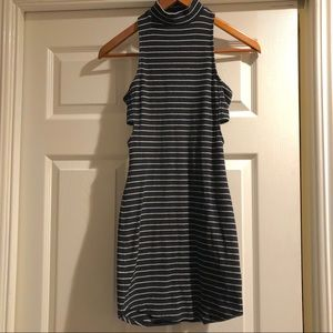 Express striped ribbed dress with cutouts XS
